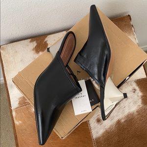✨ NEW real leather Zara kitten heel mules ✨